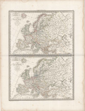 Historic Europe Antique Map Lapie 1833