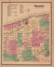 Town of Wilson New York Antique Map Beers 1875
