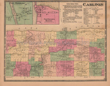 Town of Carlton New York Antique Map Beers 1875