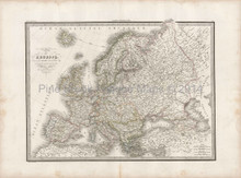 European Continent Antique Map Lapie 1833