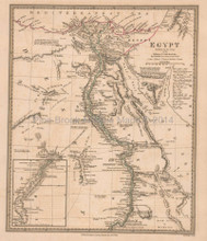 Egypt Nubia Antique Map SDUK 1831