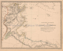 Tunis Tunisia Antique Map SDUK 1836