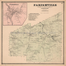 Parishville New York Antique Map Beers 1865