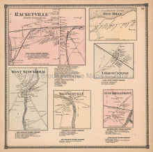 Racketville Red Mills New York Antique Map Beers 1865