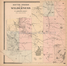 South Woods Wilderness New York Antique Map Beers 1865