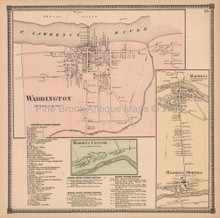 Village of Waddington New York Antique Map Beers 1865
