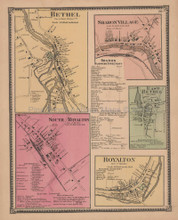 Bethel Sharon Village Vermont Vintage Map Beers 1869