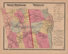 Windsor West Windsor Vermont Vintage Map Beers 1869