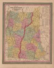 Vermont New Hampshire Vintage Map Mitchell Cowperthwait 1853