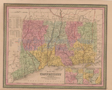 Connecticut Vintage Map Mitchell Cowperthwait 1853