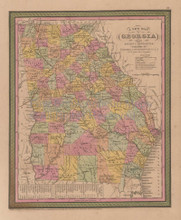 Georgia Vintage Map Mitchell Cowperthwait 1853