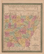 Arkansas Vintage Map Mitchell Cowperthwait 1853