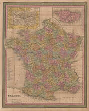 France Vintage Map Mitchell Cowperthwait 1853