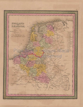 Holland Belgium Vintage Map Mitchell Cowperthwait 1853