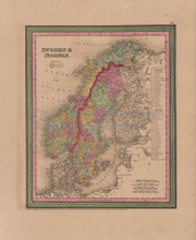 Sweden Norway Vintage Map Mitchell Cowperthwait 1853