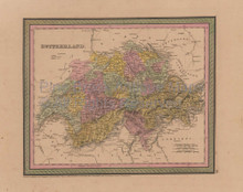 Switzerland Vintage Map Mitchell Cowperthwait 1853