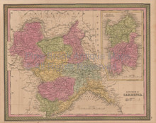 Sardinia Kingdom Vintage Map Mitchell Cowperthwait 1853