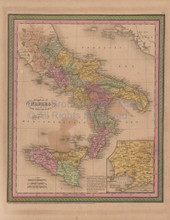 Naples Kingdom Vintage Map Mitchell Cowperthwait 1853