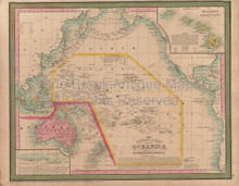Pacific Ocean Vintage Map Mitchell Cowperthwait 1853