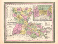Louisiana Vintage Map DeSilver 1855