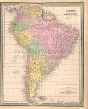 South American Continent Vintage Map DeSilver 1855