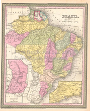 Brazil Vintage Map Brazilian Decor History Gift Ideas DeSilver 1855