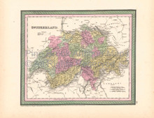 Switzerland Vintage Map DeSilver 1855