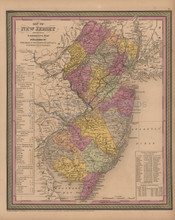 New Jersey Antique Map Mitchell Cowperthwait 1852