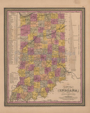 Indiana Antique Map Mitchell Cowperthwait 1852