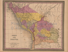 Peru Bolivia Antique Map Mitchell Cowperthwait 1852