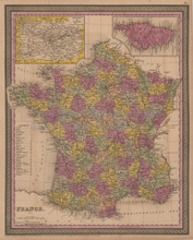 France Antique Map Mitchell Cowperthwait 1852