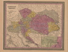 Austrian Empire Antique Map Mitchell Cowperthwait 1852