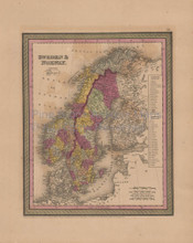 Sweden Norway Antique Map Mitchell Cowperthwait 1852