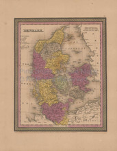 Denmark Antique Map Mitchell Cowperthwait 1852