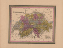 Switzerland Antique Map Mitchell Cowperthwait 1852