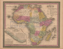 African Continent Antique Map Mitchell Cowperthwait 1852
