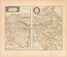 Orleans Vendome France Antique Map Blaeu 1660