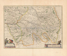 Troyes Sens Chaumont France Antique Map Blaeu 1665