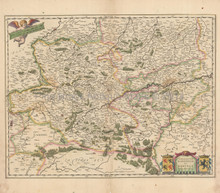 Namur Charleroi Belgium Antique Map Blaeu 1650