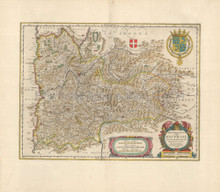 Grenoble Lyon France Antique Map Blaeu 1660