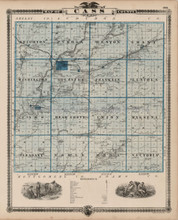 Cass County Iowa Map Antique Andreas 1875