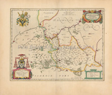 Douai Valenciennes France Antique Map Blaeu 1650