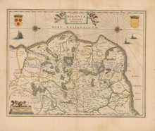 Calais Boulogne France Antique Map Blaeu 1650