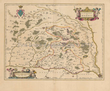 Lyon Macon Bourg-En-Bresse France Antique Map Blaeu 1650