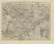 Beauvais France Antique Map Covens & Mortier 1745