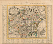 Narbonne Bexiers Carcassonne France Antique Map Covens & Mortier 1745