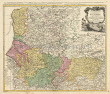 Amiens Calais Maubeuge France Antique Map Homann 1746