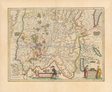 Lyon Bourg-en-Bresse France Vintage Map Blaeu 1650