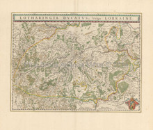 Nancy Metz Lorraine France Vintage Map Blaeu 1650