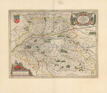 Tours Blois France Vintage Map Blaeu 1650